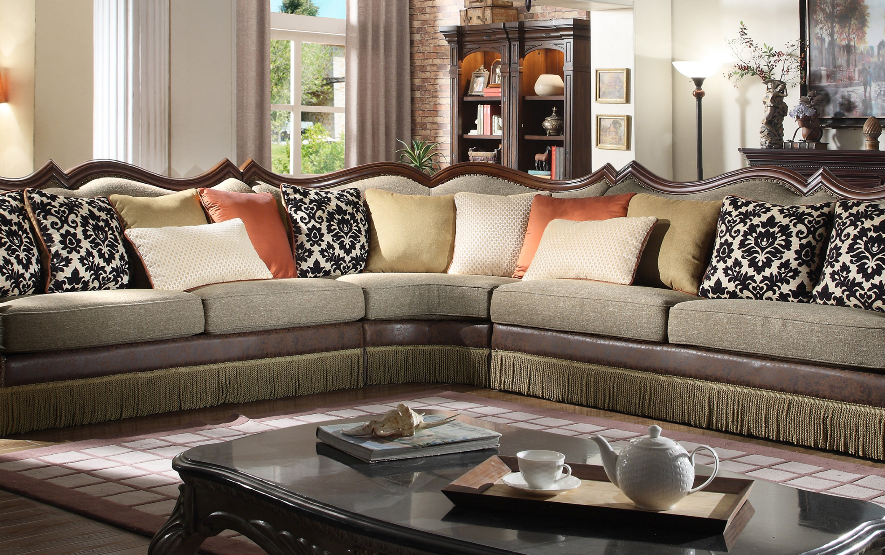 Traditional Living Room 3pc Sectional Sofa  Hot Sectionals