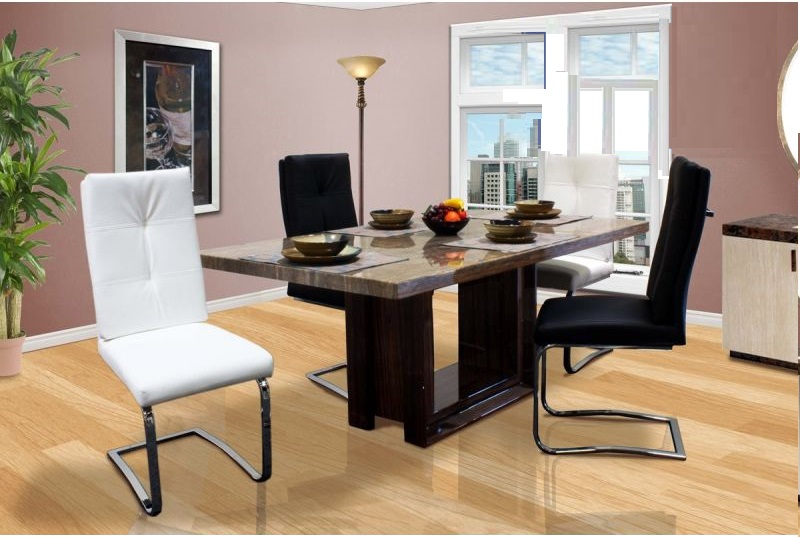 Pc Tan Marble Top Dining Table Chairs Set Hot Sectionals - Marble top dining table with leather chairs