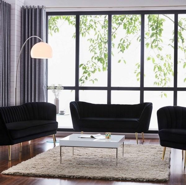 Contemporary 2pc Sofa Set Black Velvet Fabric