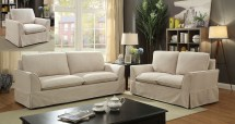 Transitional Beige Linen Fabric 2pc Sofa Hot Sectionals