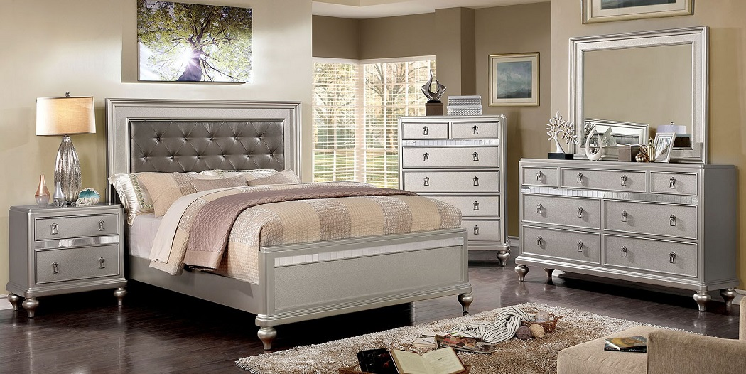 Cal King Size Bedroom 1pc Bed Silver Finish Hot Sectionals