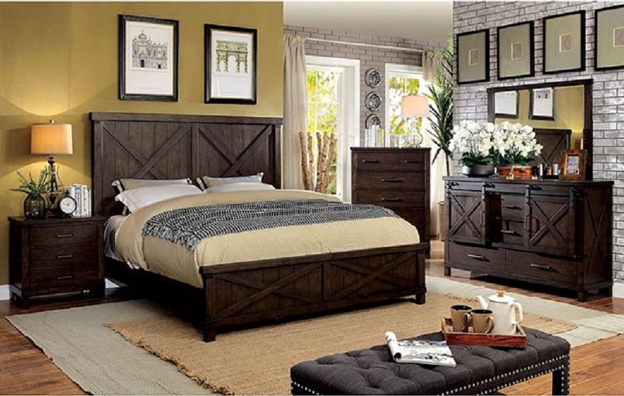 Transitional 4pc Set Queen Size Bed Dresser Mirror Nightstand Dark Walnut  Finish Bedroom Furniture