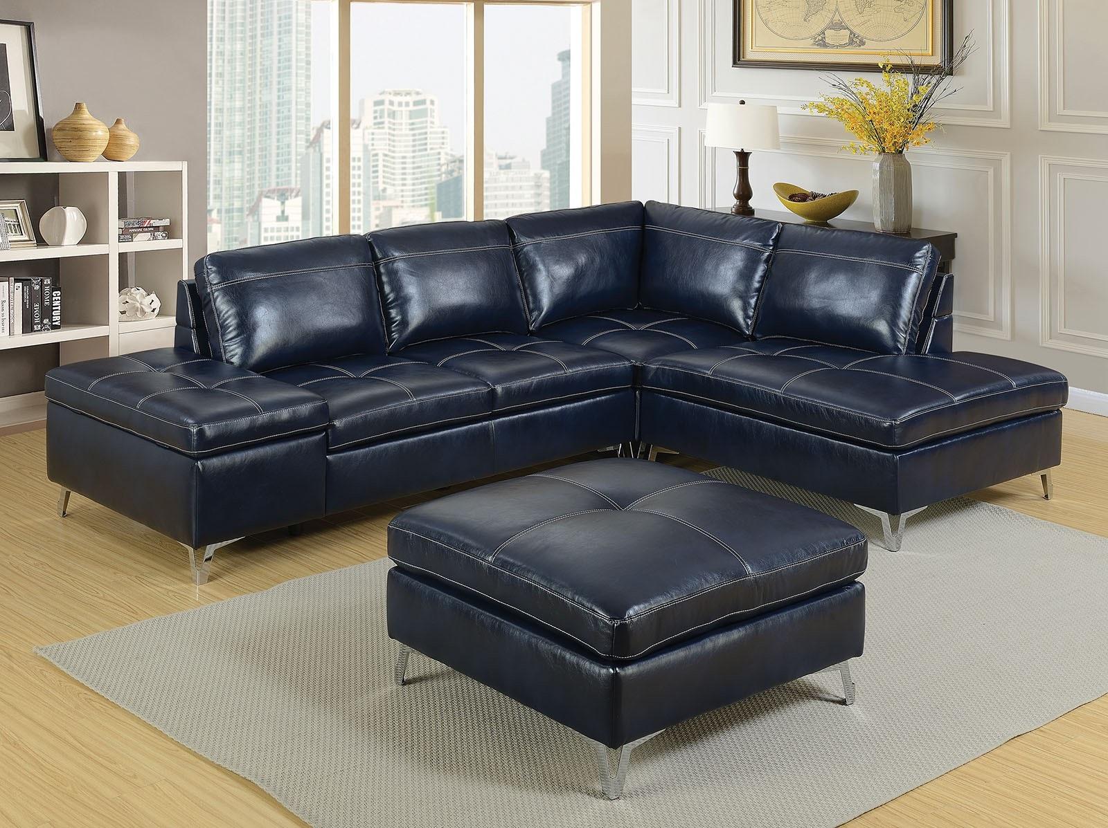 4pc Dark Blue Sectional Sofa Corner Loveseat W Storage Ottoman Living Room Set