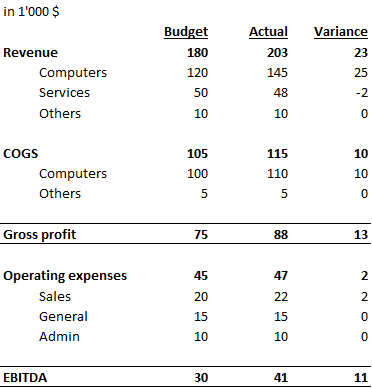 financial statemement showing variance between budget and actuals