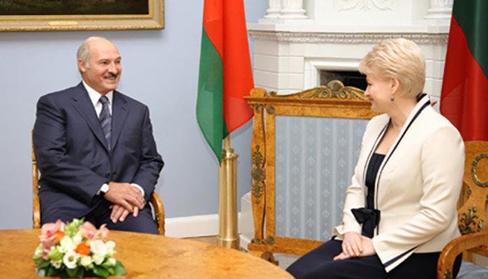 Dalia Grybauskaite and Alexander Lukashenko