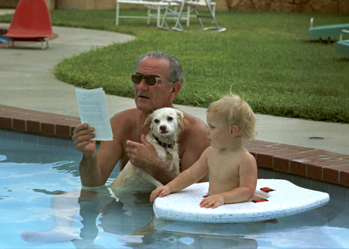 LBJ in bathing suit
