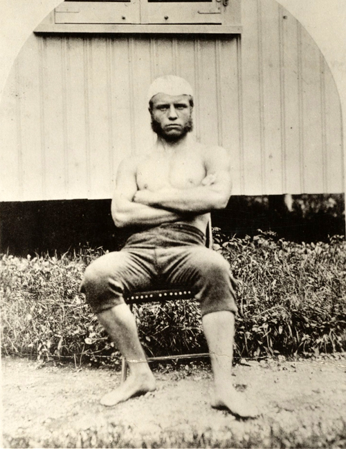 Young Theodore Roosevelt in a bathing suit