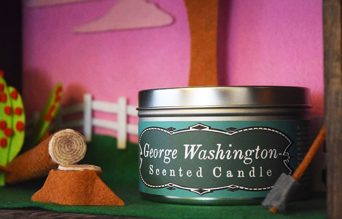 George Washington-Scented Candle diorama close-up