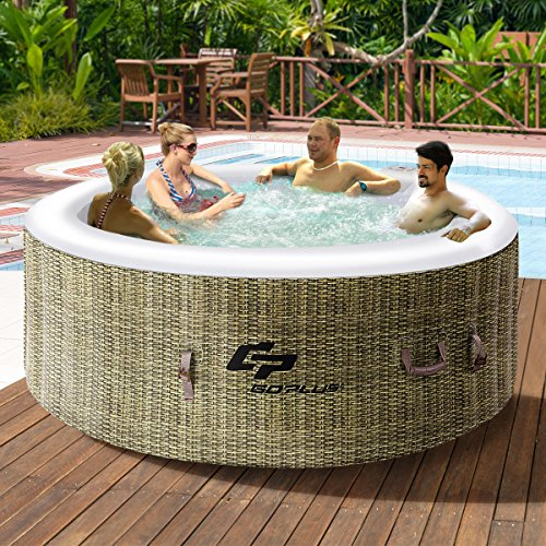 Goplus 4 Person Inflatable Hot Tub Outdoor Jets Portable