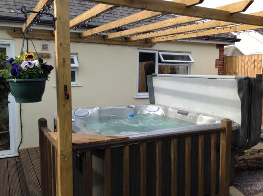 Customer hot tub installation