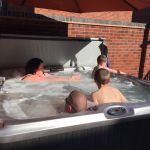 enjoying our hot tub