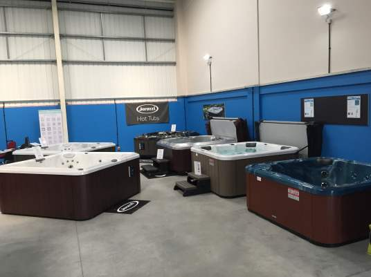 Inside our hot tub showroom in kent