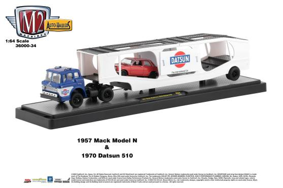 M2-Machines-Auto-Haulers-34-1957-Mack-Model-1970-Datsun-510