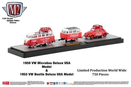M2-Machines-Coca-Cola-Hauler-line-1959-VW-Microbus-Deluxe-1953-VW-Beetle-Deluxe-USA-Model-Chase-Trailer