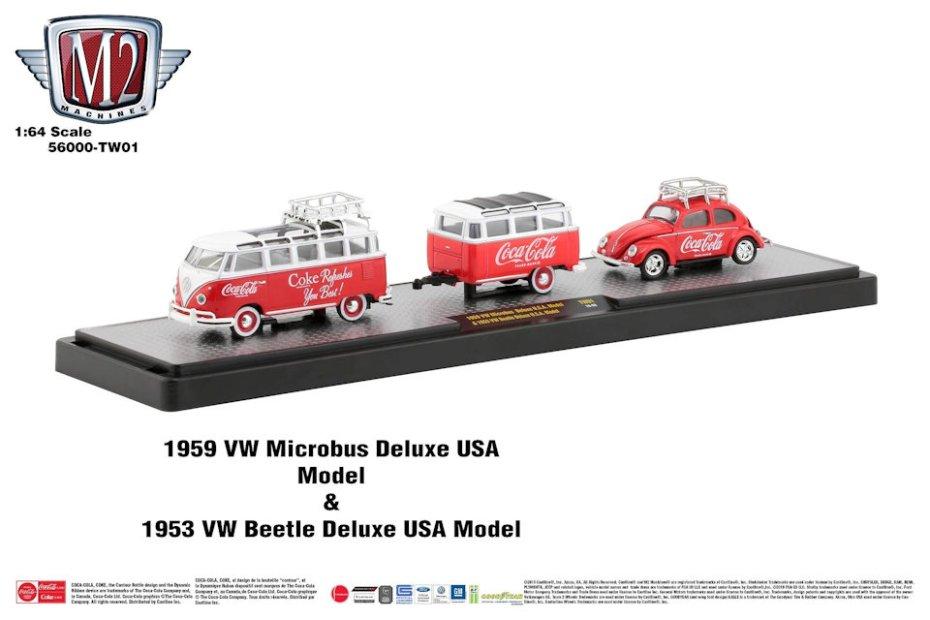 M2-Machines-Coca-Cola-Hauler-line-1959-VW-Microbus-Deluxe-1953-VW-Beetle-Deluxe-USA-Model