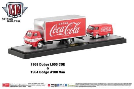 M2-Machines-Coca-Cola-Hauler-line-1969-Dodge-L600-COE-1964-Dodge-A100-Van-Super-Chase-Trailer