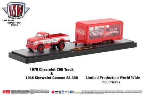 M2-Machines-Coca-Cola-Hauler-line-1970-Chevrolet-C60-Truck-1968-Chevrolet-Camaro-SS-350