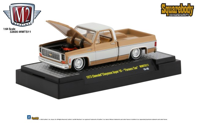 M2-Machines-Squarebody-Syndicate-Walmart-1973-Chevrolet-Cheyenne-Super-10-Farmers-Tan
