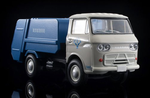Tomica-Limited-Vintage-Neo-Mazda-E2000-cleaning-truck-Blanc-bleu-008