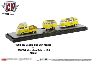 M2-Machines-Coca-Cola-Auto-Haulers-1960-VW-Double-Cab-USA-Model-1960-VW-Microbus-Deluxe-USA-Model-Mello-Yello