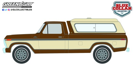 GreenLight-Collectibles-Blue-Collar-8-197-Ford-F-150-camper-Shell-Dark-Brown-Metallic-and-Creme