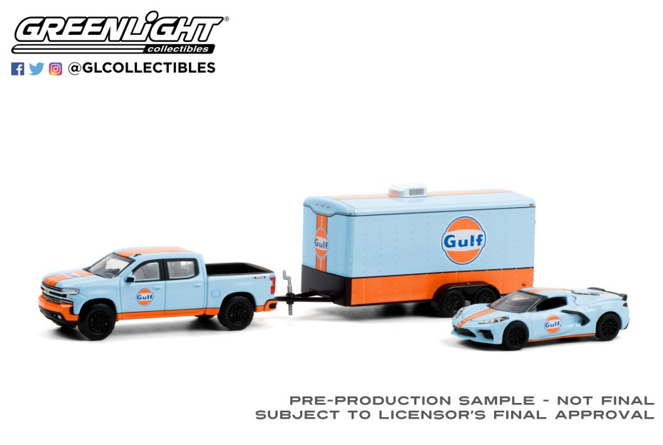 GreenLight-Collectibles-Racing-Hitch-and-Tow-Series-3-2021-Chevrolet-Silverado-2021-Chevrolet-Corvette-C8-Stingray-Gulf-Oil