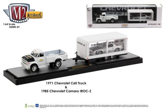 M2-Machines-Auto-Haulers-release-41-1970-Chevy-C60-1985-Chevy-Camaro-IROC-Z