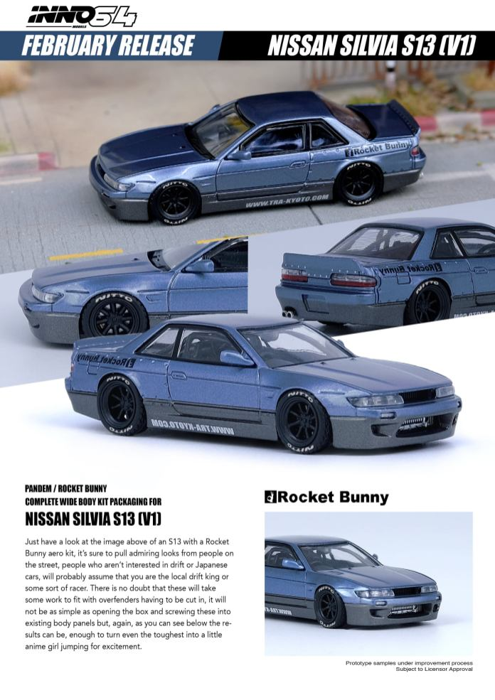 Inno64-Nissan-Silvia-S13-Pandem-Rocket-Bunny-V1-blue-grey