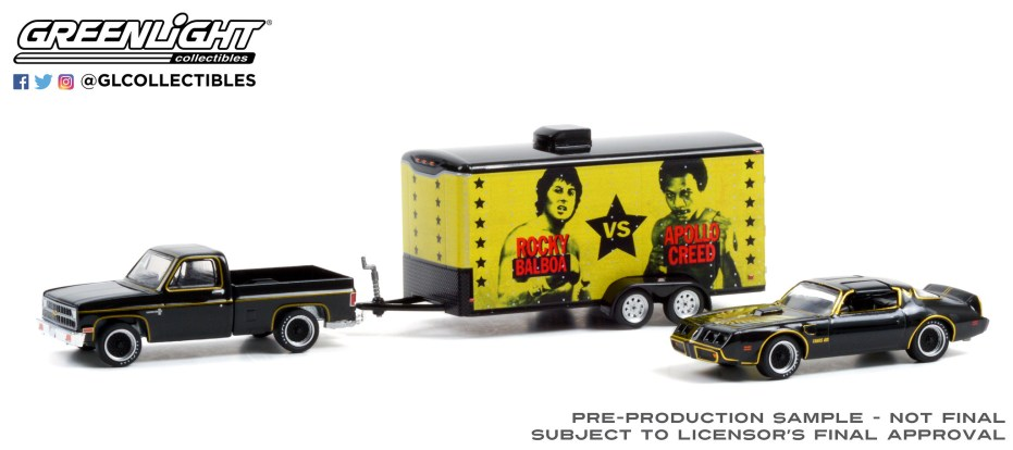 GreenLight-Collectibles-Hollywood-Hitch-and-Tow-Series-9-Rocky-II-Chevrolet-C-10-Pontiac-Firebird-Trans-Am