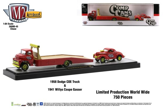 M2-Machines-Auto-Haulers-45-1958-Dodge-COE-Truck-Comp-Cams-1941-Willys-Coupe-Gasser-Chase-Edition