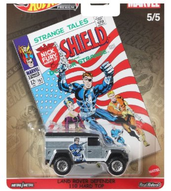 Hot-Wheels-Pop-Culture-2021-Marvel-Land-Rover-Defender-110-Hard-Top-Shield
