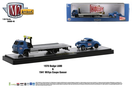 M2-Machines-Auto-Haulers-46-1970-Dodge-L600-1941-Willys-Coupe-Gasser-Holley