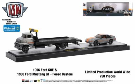 M2-Machines-Auto-Haulers-1956-Ford-COE-1988-Ford-Mustang-GT-Foose-Custom-Super-Chase