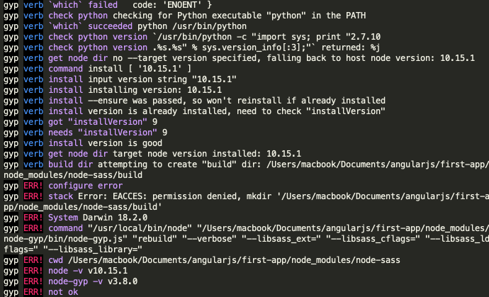 erreur de npm sans sudo