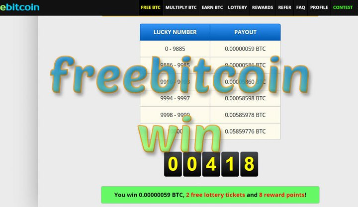 freebitcoin win