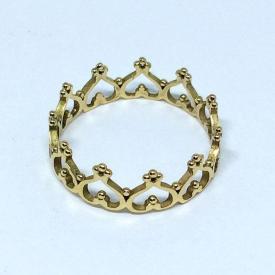 Anel Princesa Coroa Ouro 18k