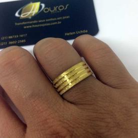 Par de Alianças Casamento 8mm 12g Diamantada Ouro 18k