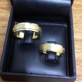 Par de Alianças Casamento Reta Fosca 6mm 13g Ouro 18k