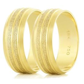 Par de Alianças Diamantada Frisos Ouro 18k