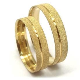 Par de Alianças Reta Diamantada Ouro 18k