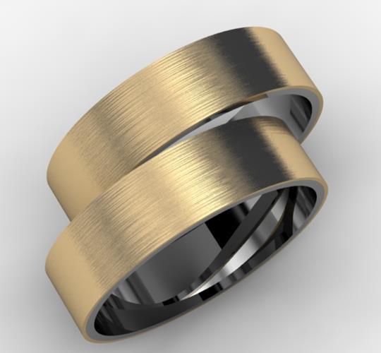 Par de Alianças Fosca Base Prata com Camada de Ouro 18k