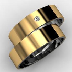 Par de Alianças de Noivado Ouro e Prata Base Prata com Camada de Ouro 18k Zircônia