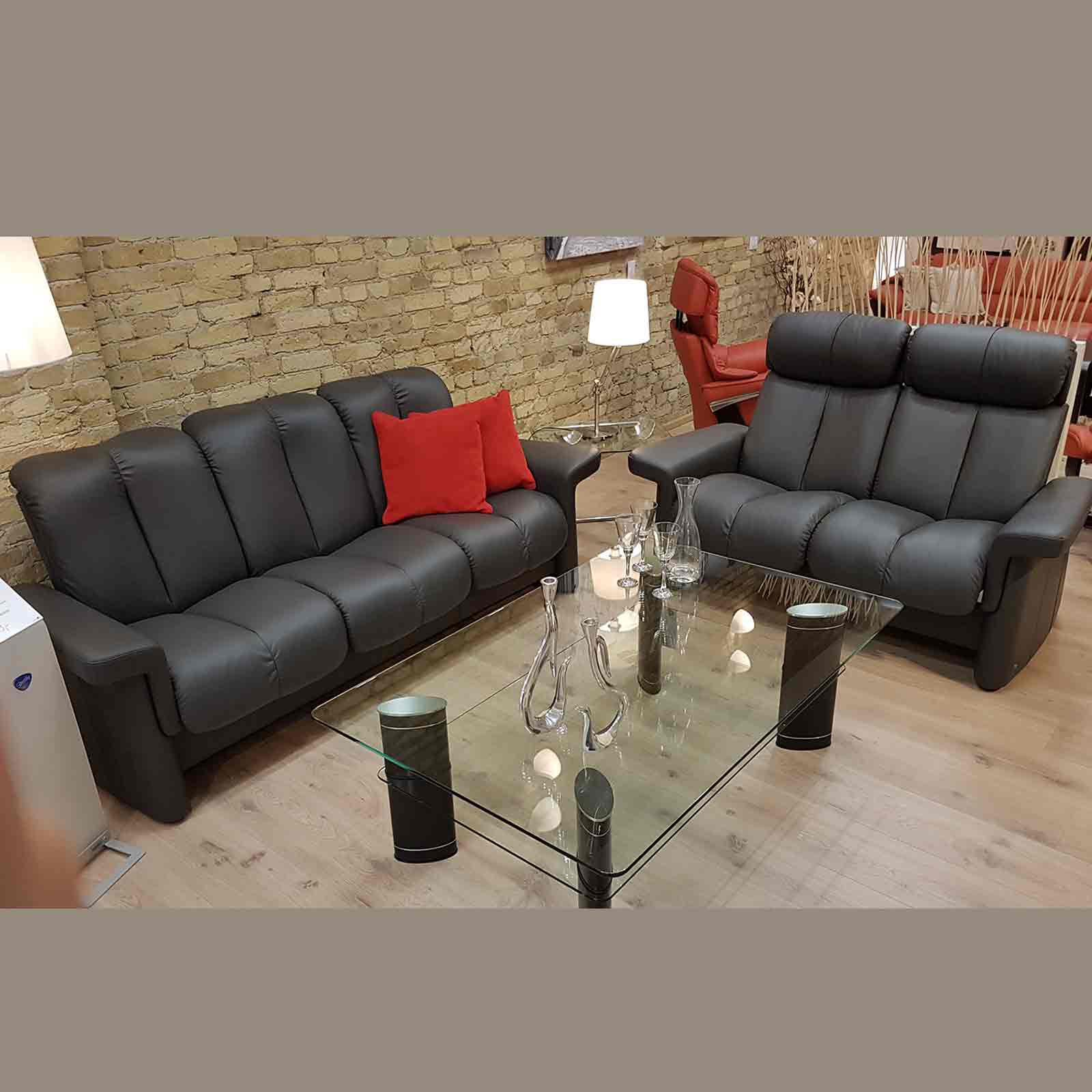 stressless eldorado sofa me king we todd did 3-sitzer + 2-sitzer legend (m) lederfarbe rock