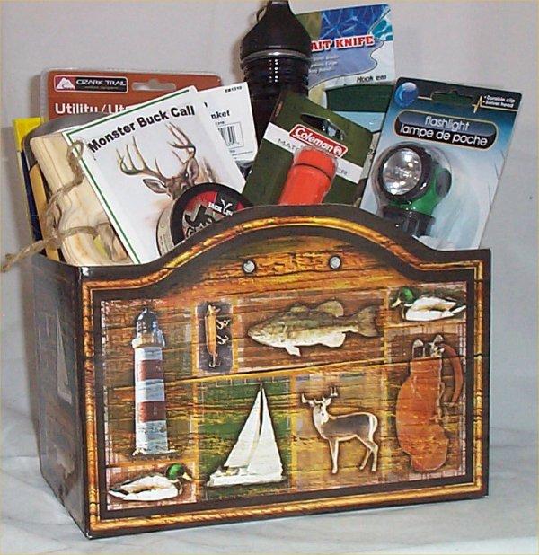 Deer Hunters Gift Basket Water Bottle Knife Blanket Warmer