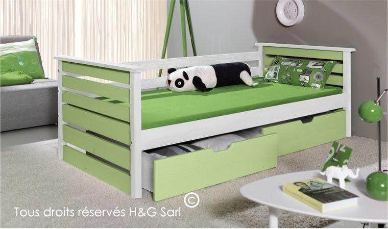 lit enfant en bois massif vert blanc 90x200 katia
