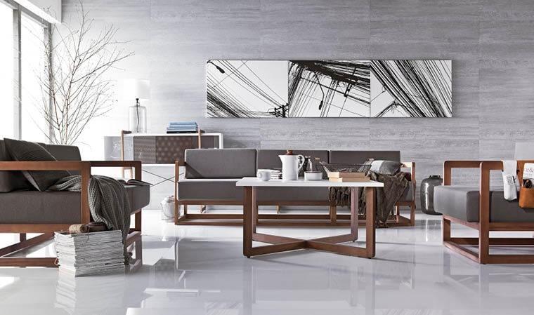 fauteuil salon design marron pied bois massif mio
