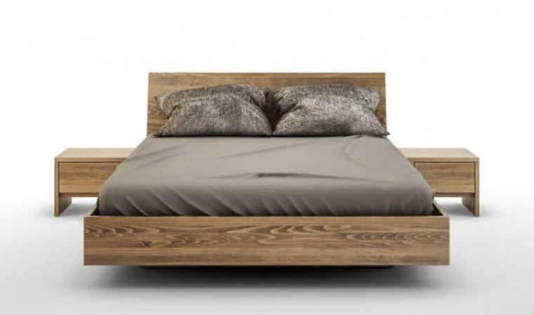 lit avec coffre de rangement bois massif noyer clair balduczi