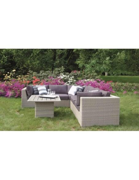 canape angle 5 pl et table basse de jardin en resine tressee kent