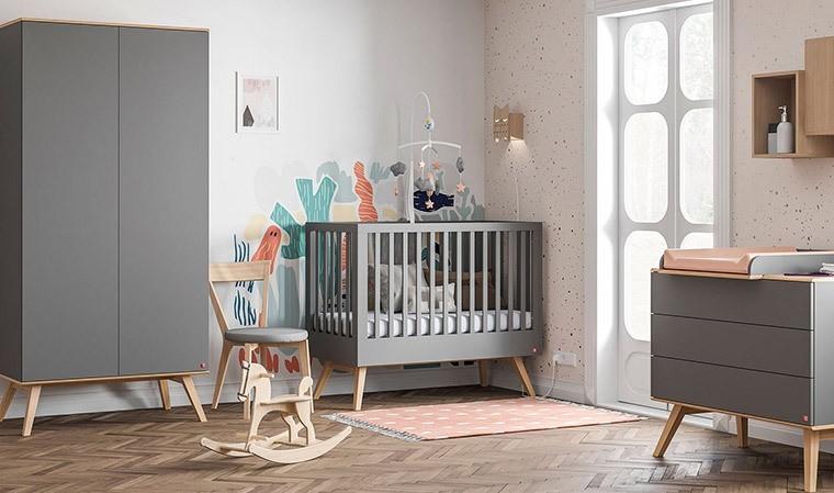 chambre bebe complete grise 60 x 120 cm nature vox