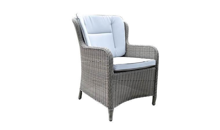 fauteuil de jardin en resine grise coussin confort grace dining